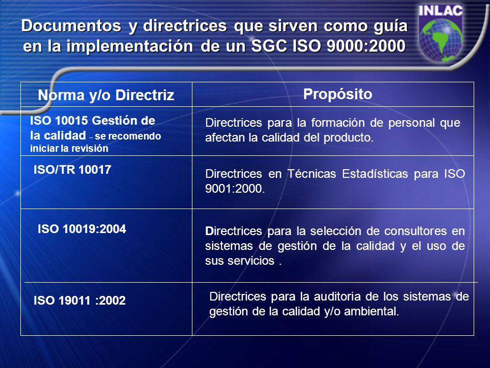 Documentos y directrices que sirven como guía en la implementación de un SGC ISO 9000:2000 Norma y/o Directriz Propósito ISO 10015 Gestión de la calid