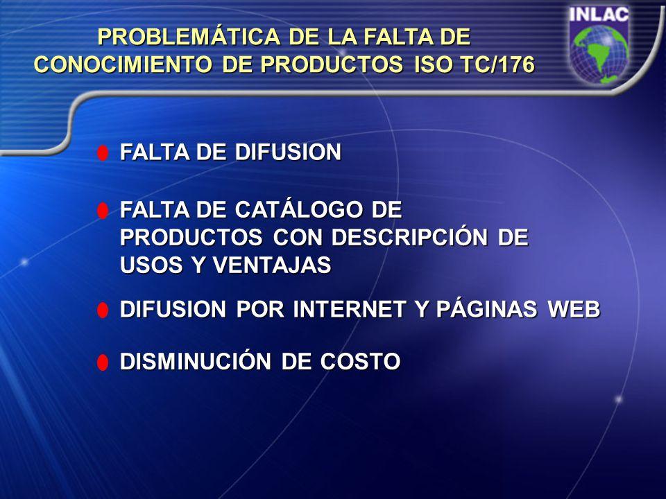 PROBLEMÁTICA DE LA FALTA DE CONOCIMIENTO DE PRODUCTOS ISO TC/176 FALTA DE DIFUSION FALTA DE CATÁLOGO DE PRODUCTOS CON DESCRIPCIÓN DE USOS Y VENTAJAS D