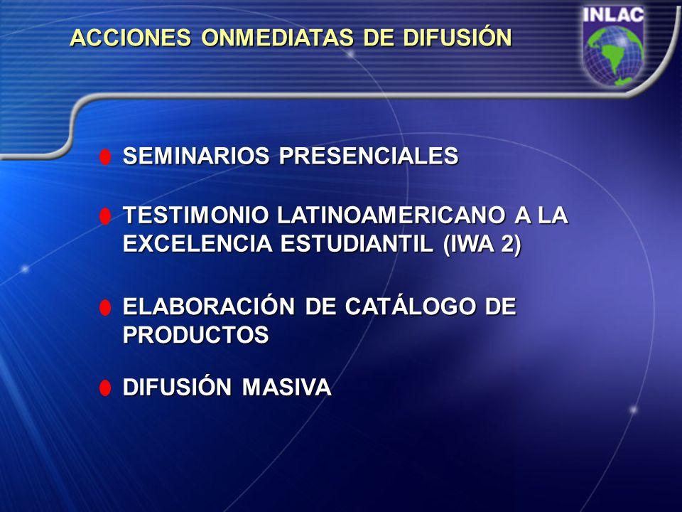 ACCIONES ONMEDIATAS DE DIFUSIÓN SEMINARIOS PRESENCIALES TESTIMONIO LATINOAMERICANO A LA EXCELENCIA ESTUDIANTIL (IWA 2) ELABORACIÓN DE CATÁLOGO DE PROD