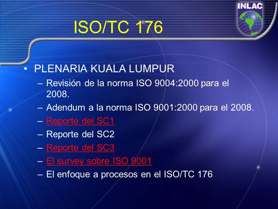 ISO/TC 176 PLENARIA KUALA LUMPUR –Revisión de la norma ISO 9004:2000 para el 2008. –Adendum a la norma ISO 9001:2000 para el 2008. –Reporte del SC1Rep