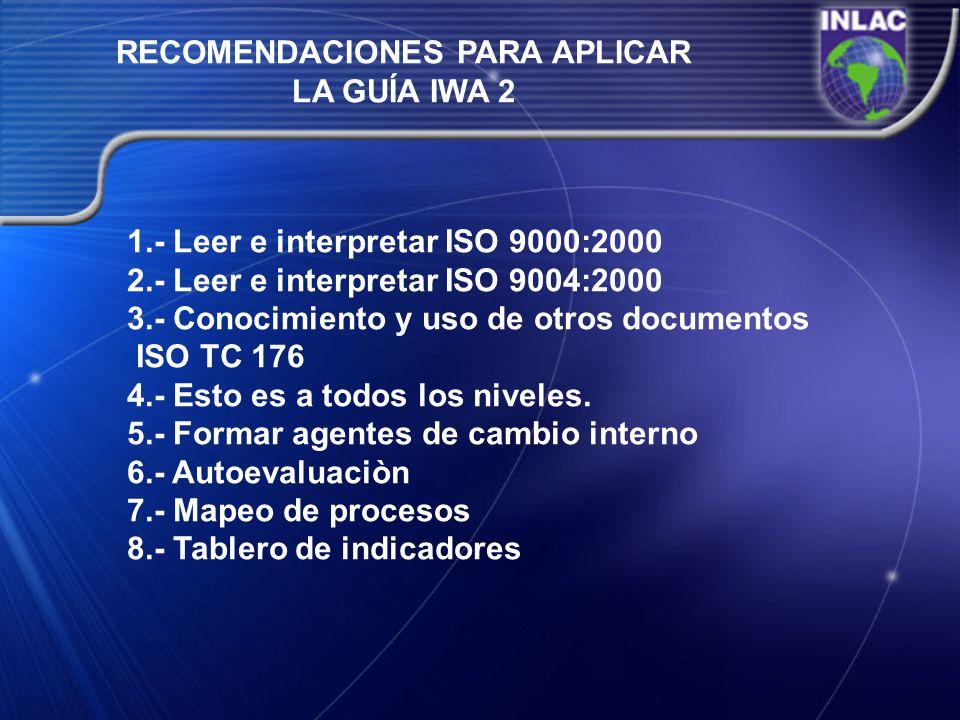 RECOMENDACIONES PARA APLICAR LA GUÍA IWA 2 1.- Leer e interpretar ISO 9000:2000 2.- Leer e interpretar ISO 9004:2000 3.- Conocimiento y uso de otros d