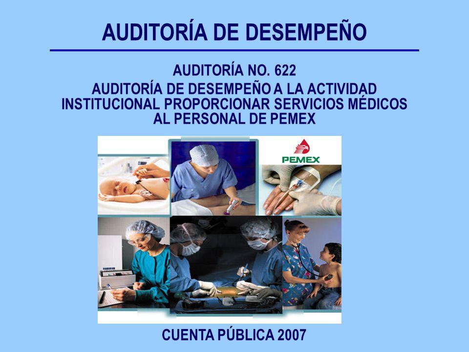 AUDITORÍA NO. 622 AUDITORÍA DE DESEMPEÑO A LA ACTIVIDAD INSTITUCIONAL PROPORCIONAR SERVICIOS MÉDICOS AL PERSONAL DE PEMEX CUENTA PÚBLICA 2007 AUDITORÍ