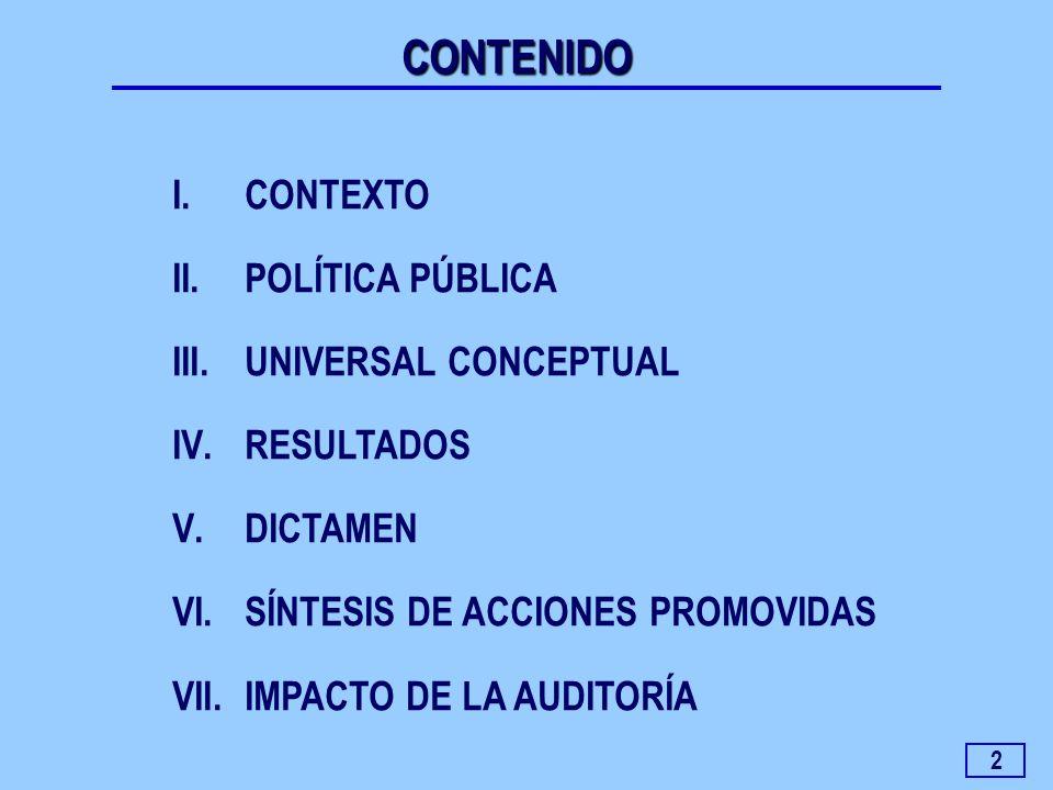 2 I.CONTEXTO II.POLÍTICA PÚBLICA III.UNIVERSAL CONCEPTUAL IV.RESULTADOS V.DICTAMEN VI.SÍNTESIS DE ACCIONES PROMOVIDAS VII.IMPACTO DE LA AUDITORÍA CONT