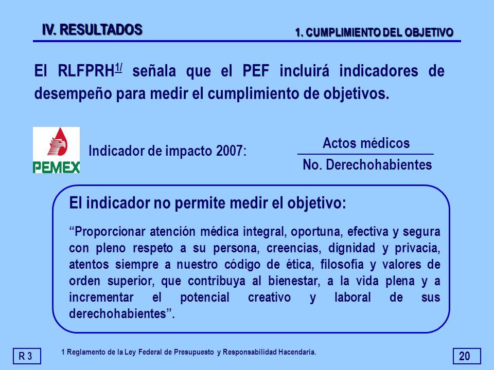 20 El RLFPRH 1/ señala que el PEF incluirá indicadores de desempeño para medir el cumplimiento de objetivos. Indicador de impacto 2007: R 3 IV. RESULT