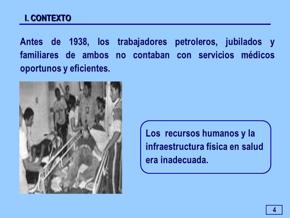 4 Antes de 1938, los trabajadores petroleros, jubilados y familiares de ambos no contaban con servicios médicos oportunos y eficientes. I. CONTEXTO Lo