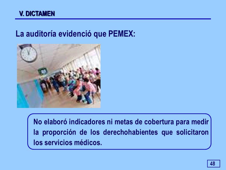 48 V. DICTAMEN La auditoría evidenció que PEMEX: No elaboró indicadores ni metas de cobertura para medir la proporción de los derechohabientes que sol