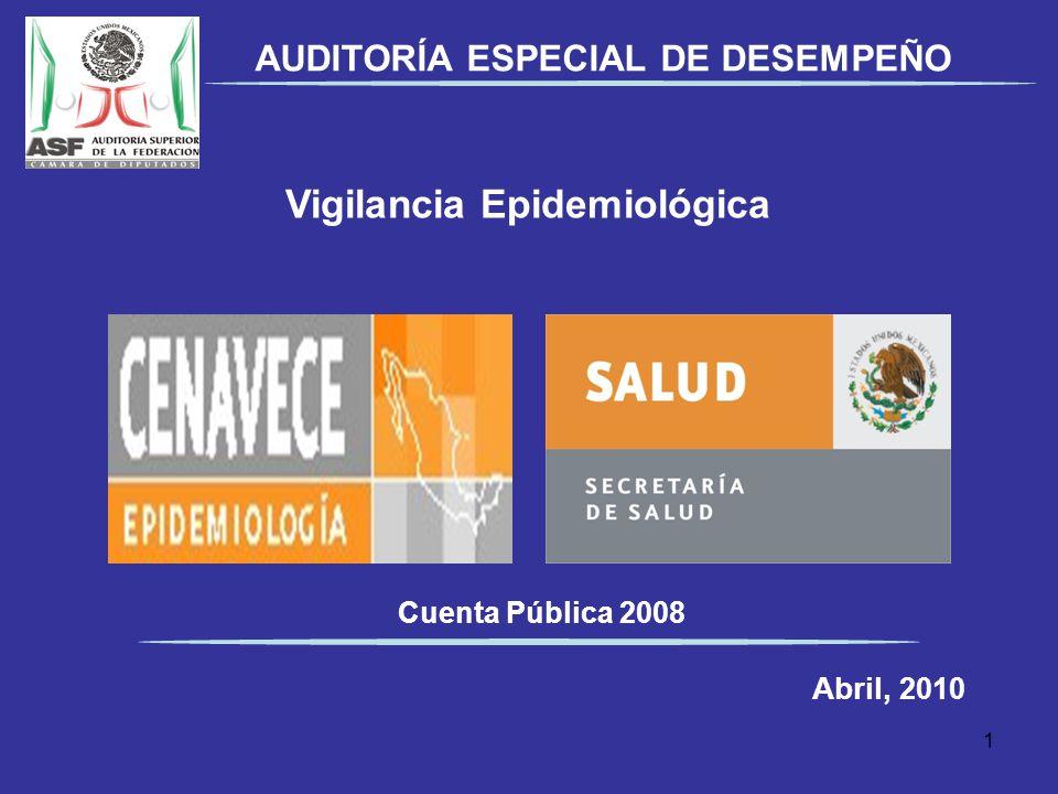 Vigilancia Epidemiológica Cuenta Pública 2008 Abril, 2010 AUDITORÍA ESPECIAL DE DESEMPEÑO 1