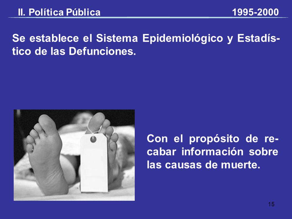 Se establece el Sistema Epidemiológico y Estadís- tico de las Defunciones. Con el propósito de re- cabar información sobre las causas de muerte. II. P