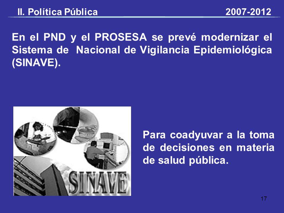 En el PND y el PROSESA se prevé modernizar el Sistema de Nacional de Vigilancia Epidemiológica (SINAVE). Para coadyuvar a la toma de decisiones en mat