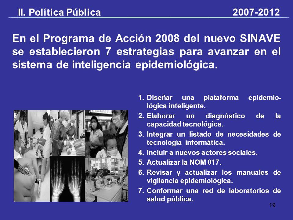 En el Programa de Acción 2008 del nuevo SINAVE se establecieron 7 estrategias para avanzar en el sistema de inteligencia epidemiológica. 1.Diseñar una