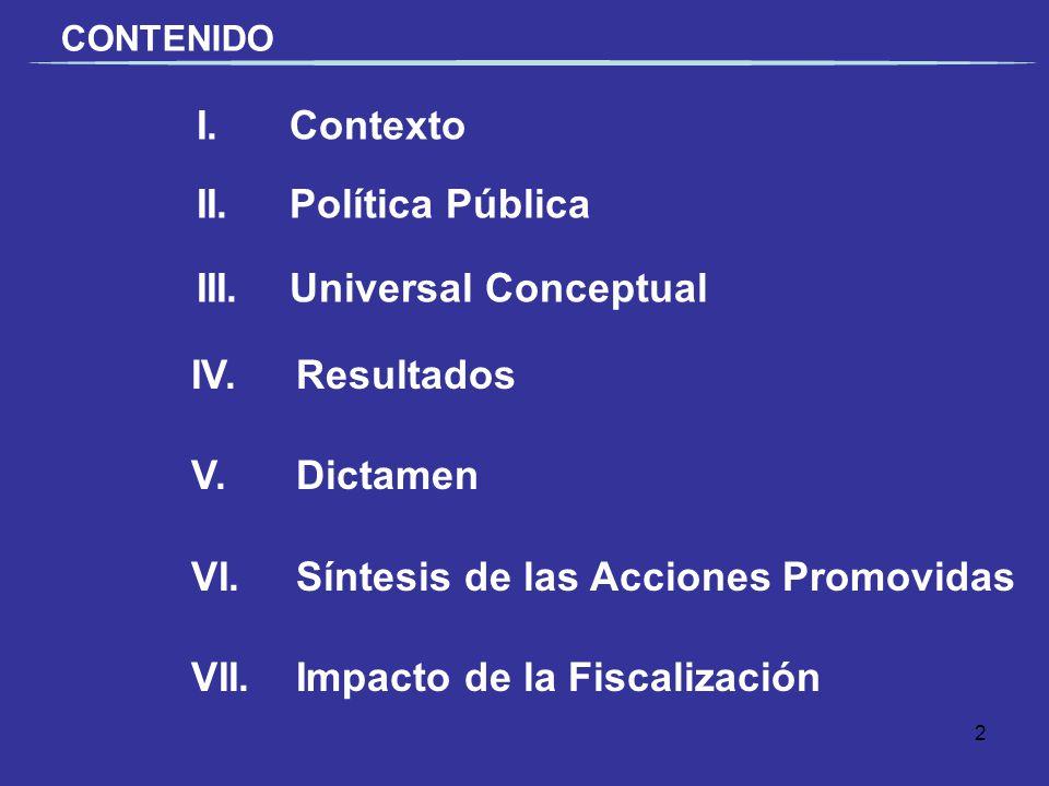 I. Contexto II.Política Pública III.Universal Conceptual CONTENIDO IV.Resultados V.Dictamen VI. Síntesis de las Acciones Promovidas VII.Impacto de la