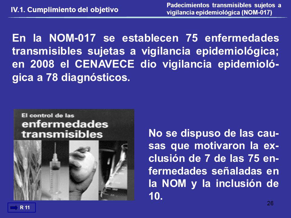 En la NOM-017 se establecen 75 enfermedades transmisibles sujetas a vigilancia epidemiológica; en 2008 el CENAVECE dio vigilancia epidemioló- gica a 7
