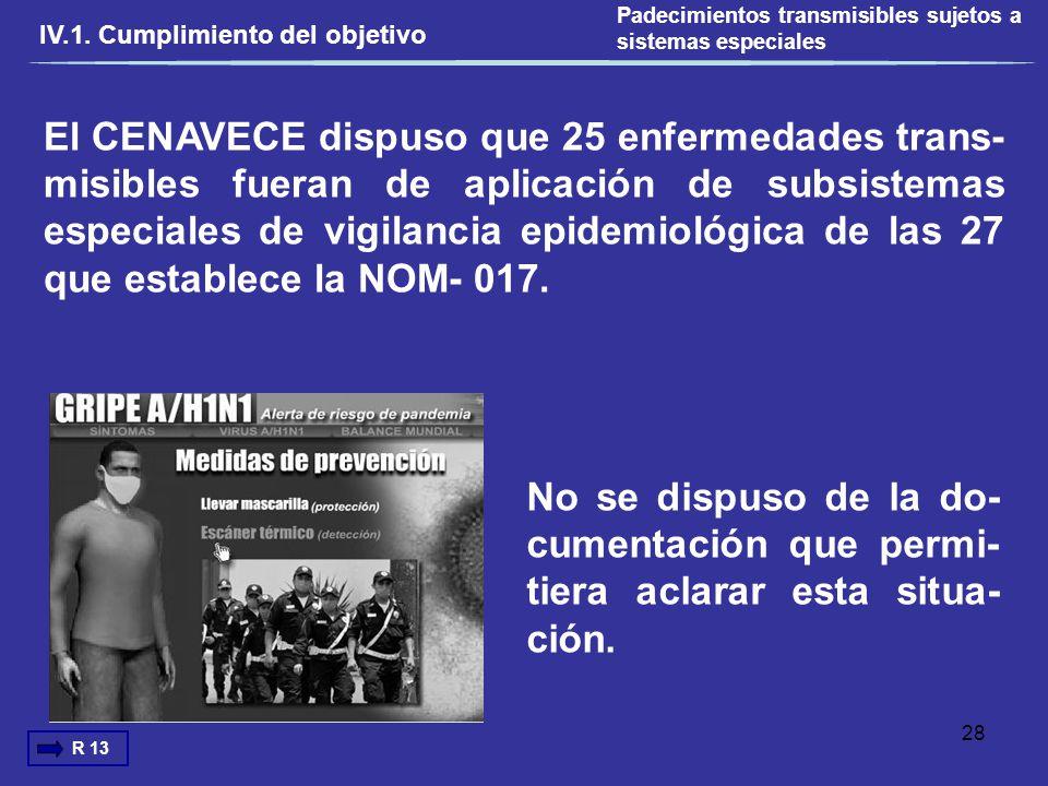 El CENAVECE dispuso que 25 enfermedades trans- misibles fueran de aplicación de subsistemas especiales de vigilancia epidemiológica de las 27 que esta