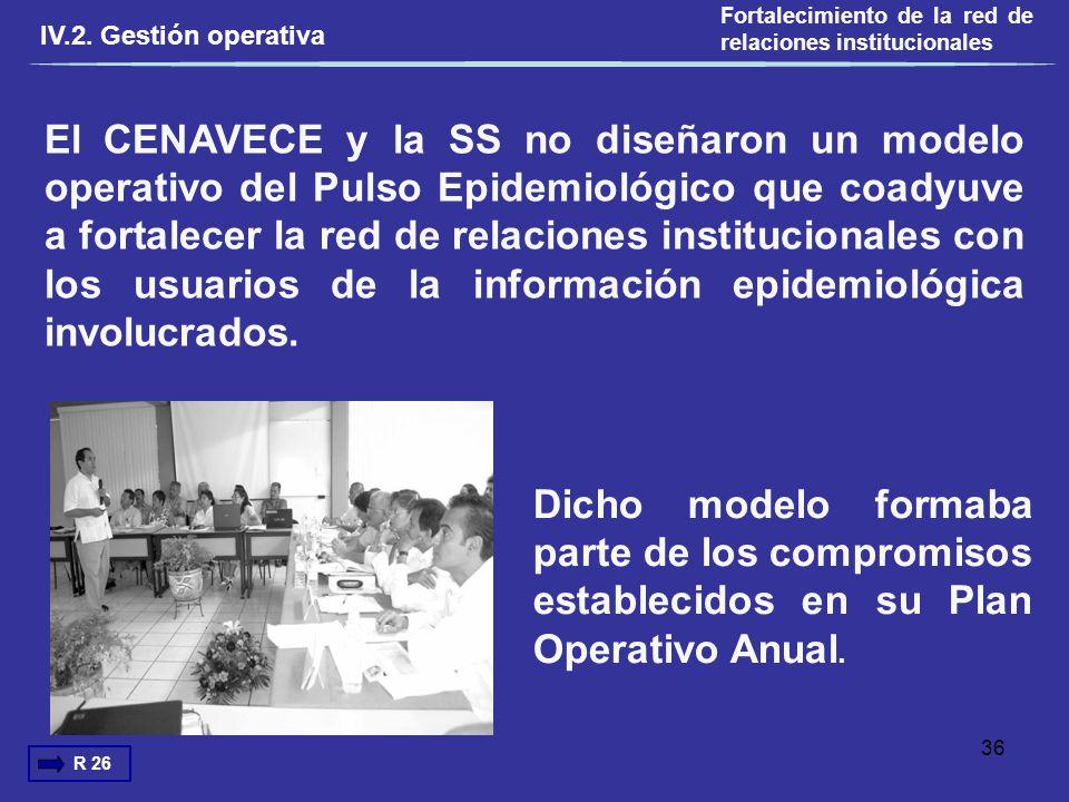 El CENAVECE y la SS no diseñaron un modelo operativo del Pulso Epidemiológico que coadyuve a fortalecer la red de relaciones institucionales con los u
