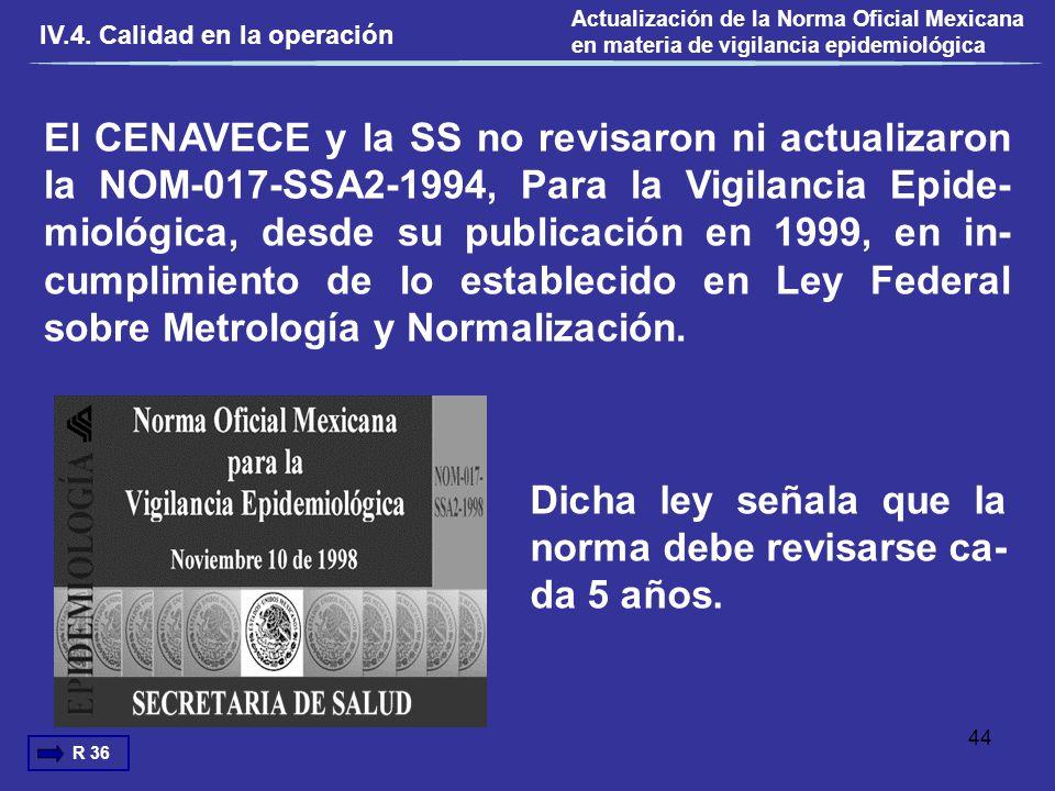 El CENAVECE y la SS no revisaron ni actualizaron la NOM-017-SSA2-1994, Para la Vigilancia Epide- miológica, desde su publicación en 1999, en in- cumpl