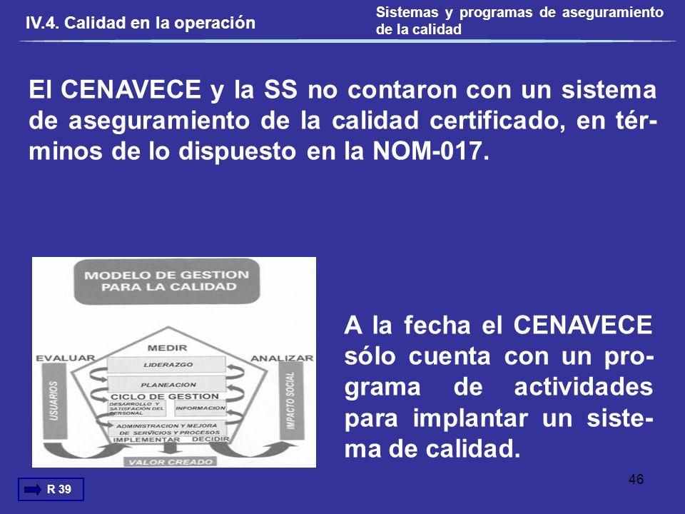 El CENAVECE y la SS no contaron con un sistema de aseguramiento de la calidad certificado, en tér- minos de lo dispuesto en la NOM-017. IV.4. Calidad