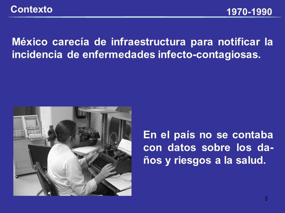 México carecía de infraestructura para notificar la incidencia de enfermedades infecto-contagiosas. Contexto En el país no se contaba con datos sobre