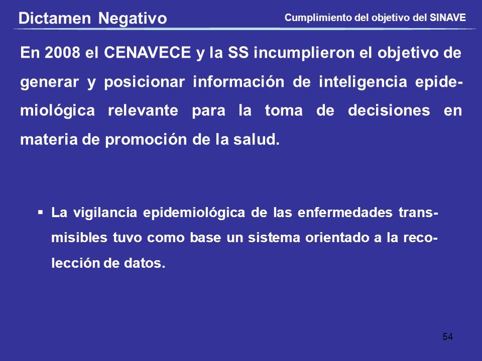 En 2008 el CENAVECE y la SS incumplieron el objetivo de generar y posicionar información de inteligencia epide- miológica relevante para la toma de de
