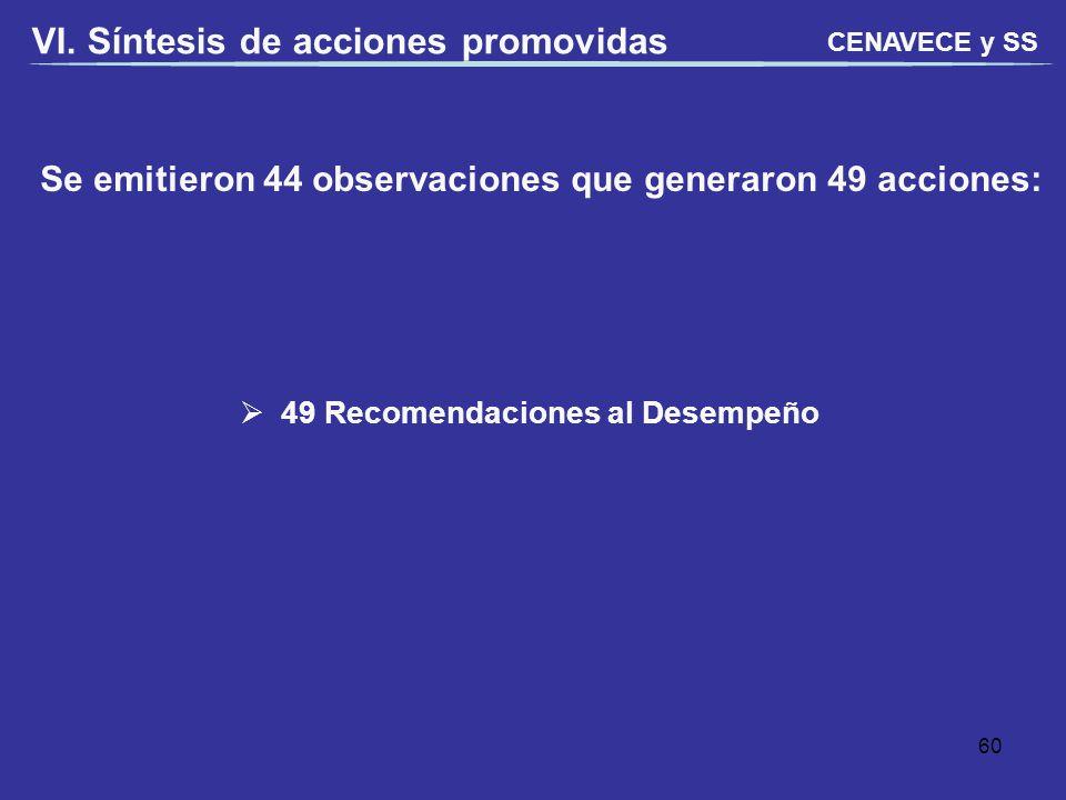 Se emitieron 44 observaciones que generaron 49 acciones: VI. Síntesis de acciones promovidas 49 Recomendaciones al Desempeño CENAVECE y SS 60