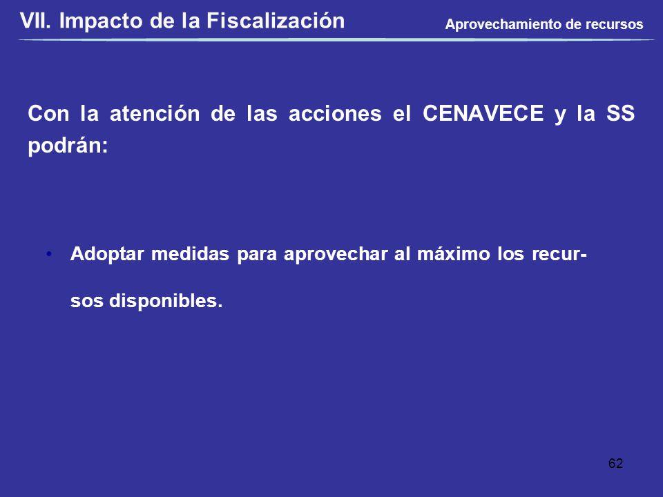 Con la atención de las acciones el CENAVECE y la SS podrán: VII. Impacto de la Fiscalización Adoptar medidas para aprovechar al máximo los recur- sos