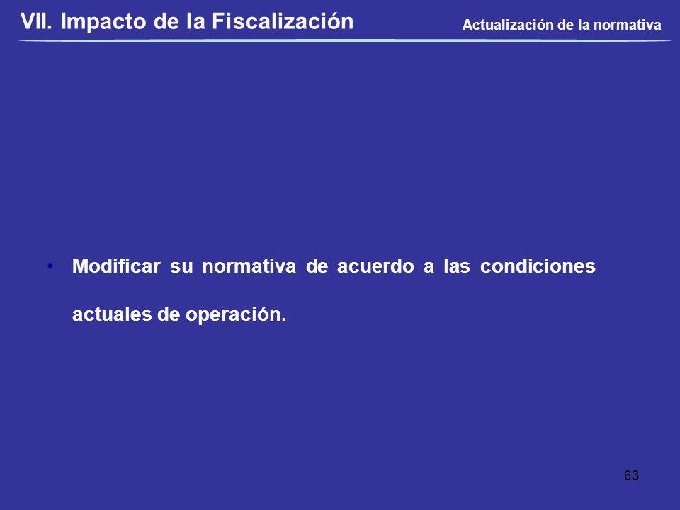 Modificar su normativa de acuerdo a las condiciones actuales de operación. Actualización de la normativa 63 VII. Impacto de la Fiscalización