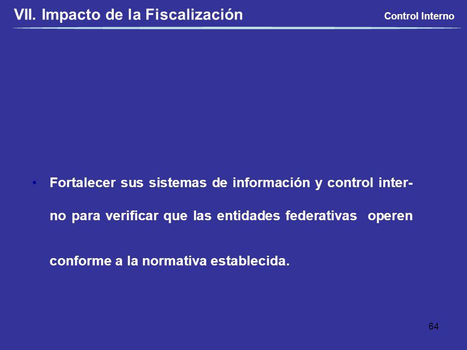 Fortalecer sus sistemas de información y control inter- no para verificar que las entidades federativas operen conforme a la normativa establecida. Co