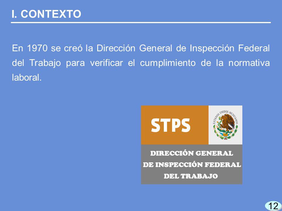 12 DIRECCIÓN GENERAL DE INSPECCIÓN FEDERAL DEL TRABAJO I.