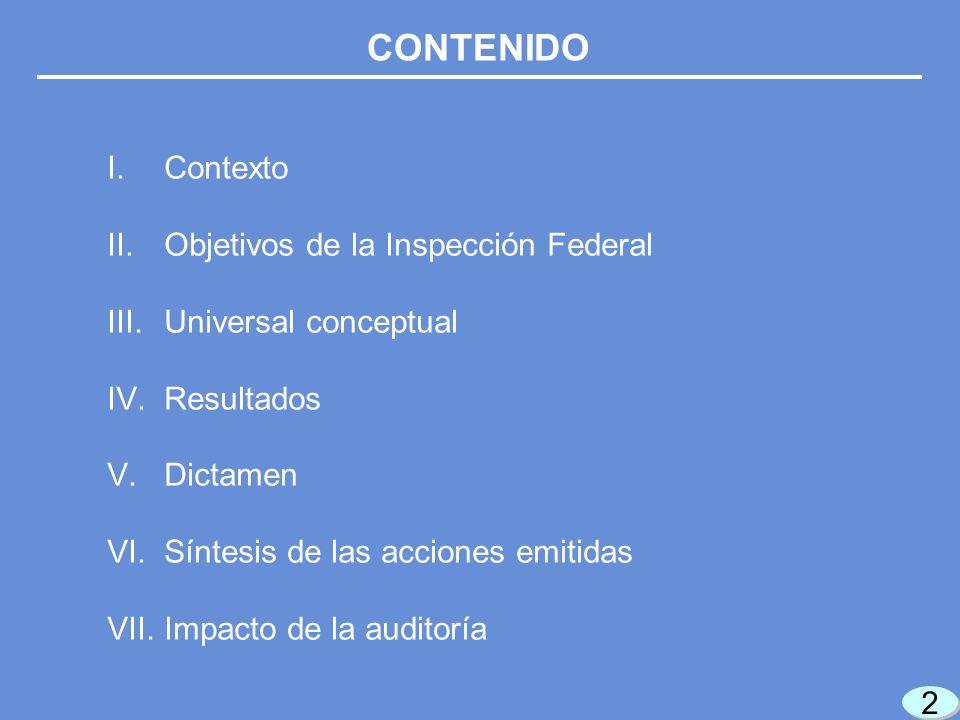 2 2 I.Contexto II.Objetivos de la Inspección Federal III.Universal conceptual IV.Resultados V.Dictamen VI.Síntesis de las acciones emitidas VII.Impacto de la auditoría CONTENIDO