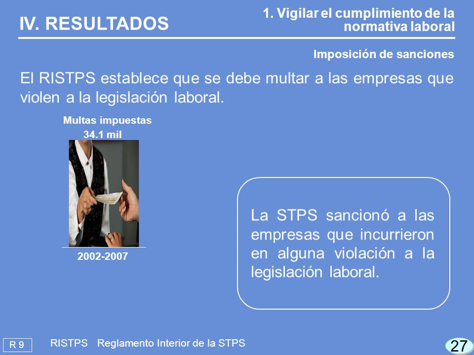 27 R 9 RISTPS Reglamento Interior de la STPS IV.RESULTADOS 1.