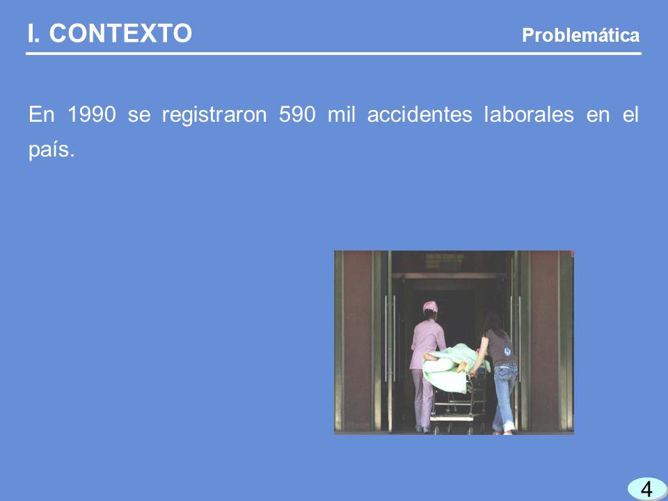 4 4 I. CONTEXTO Problemática En 1990 se registraron 590 mil accidentes laborales en el país.