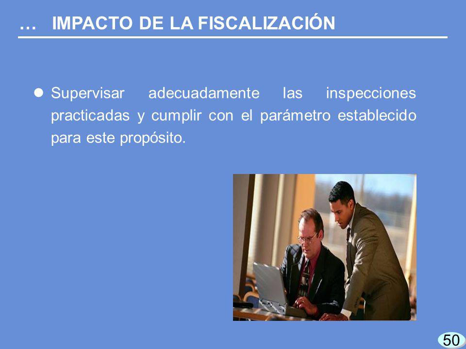 50 Supervisar adecuadamente las inspecciones practicadas y cumplir con el parámetro establecido para este propósito.