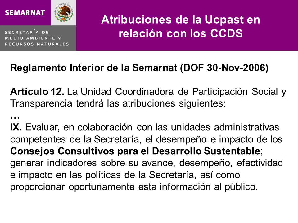 Lo malo Reglamento Interior de la Semarnat (DOF 30-Nov-2006) Artículo 12. La Unidad Coordinadora de Participación Social y Transparencia tendrá las at