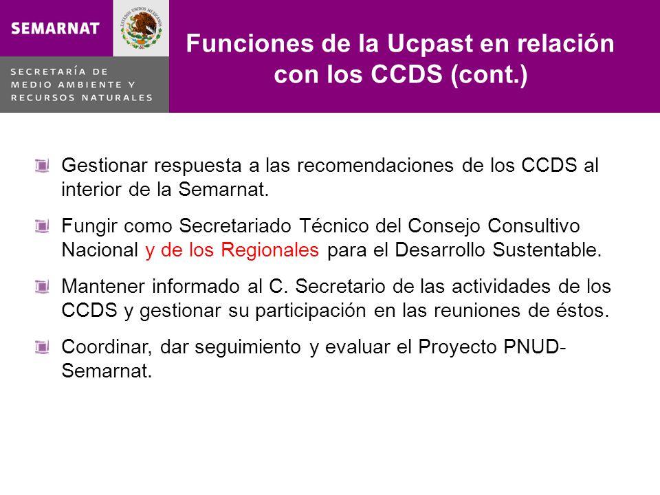 Funciones de la Ucpast en relación con los CCDS (cont.) Lo malo Gestionar respuesta a las recomendaciones de los CCDS al interior de la Semarnat. Fung