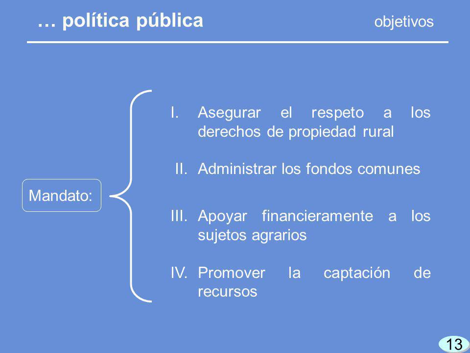 13 Mandato: I.Asegurar el respeto a los derechos de propiedad rural II.