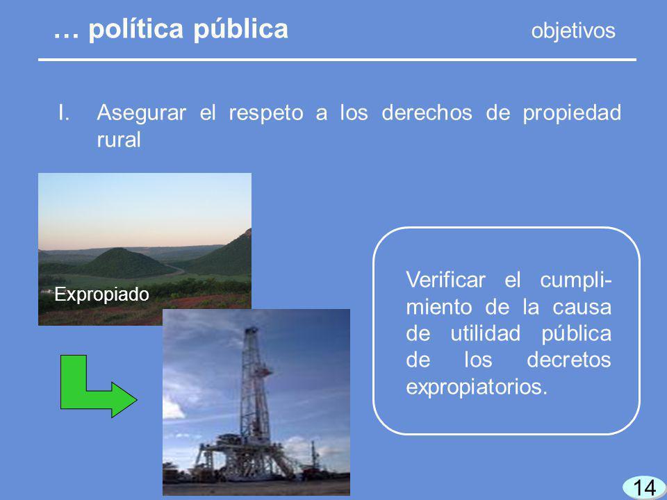 14 Expropiado Verificar el cumpli- miento de la causa de utilidad pública de los decretos expropiatorios.