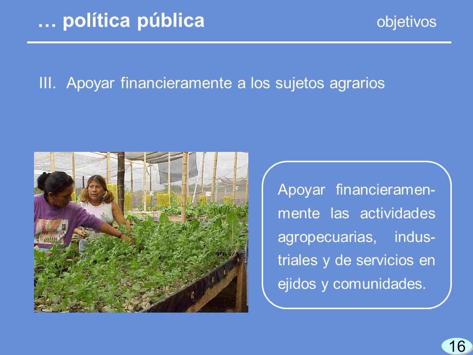16 Apoyar financieramen- mente las actividades agropecuarias, indus- triales y de servicios en ejidos y comunidades.