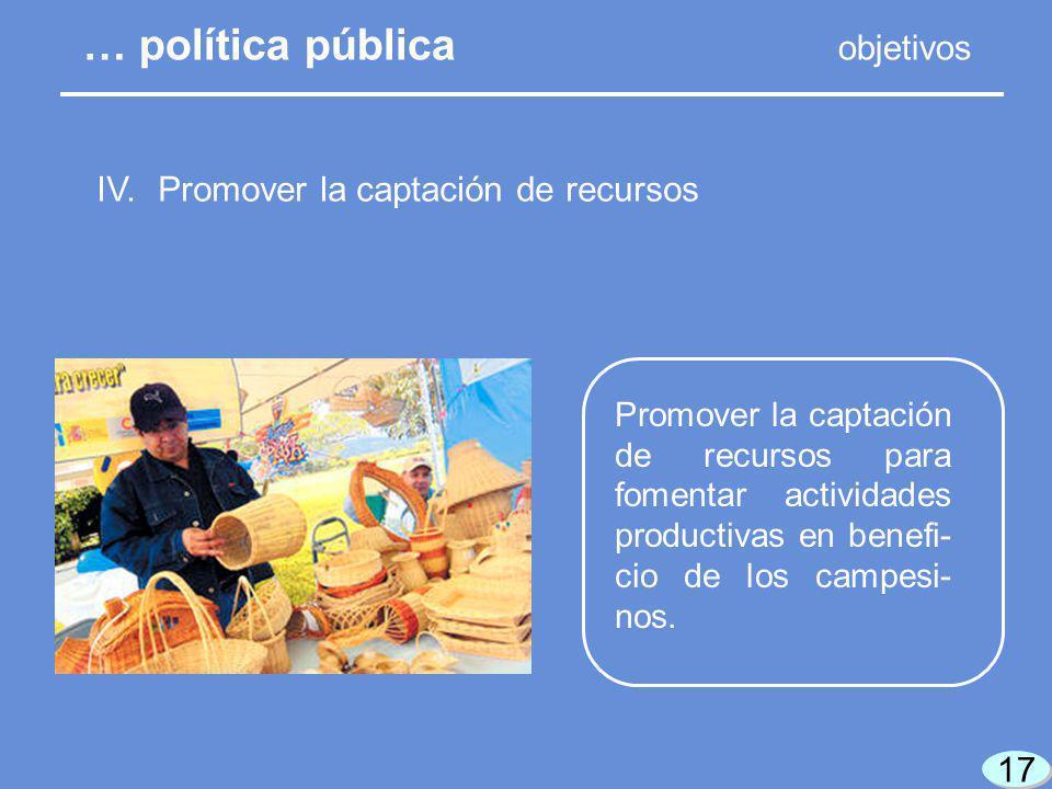 17 Promover la captación de recursos para fomentar actividades productivas en benefi- cio de los campesi- nos.