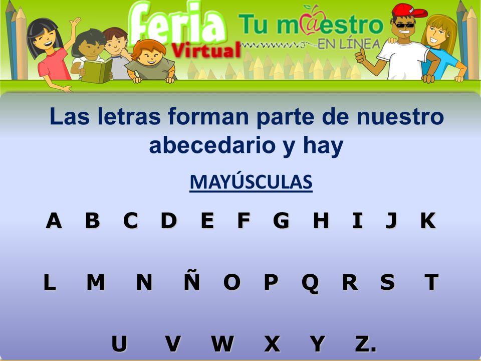Las letras forman parte de nuestro abecedario y hay A B C D E F G H I J K L M N Ñ O P Q R S T U V W X Y Z.