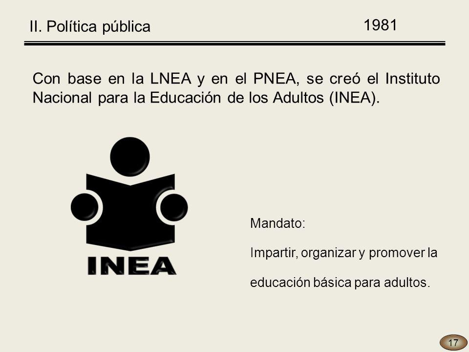 Con base en la LNEA y en el PNEA, se creó el Instituto Nacional para la Educación de los Adultos (INEA).