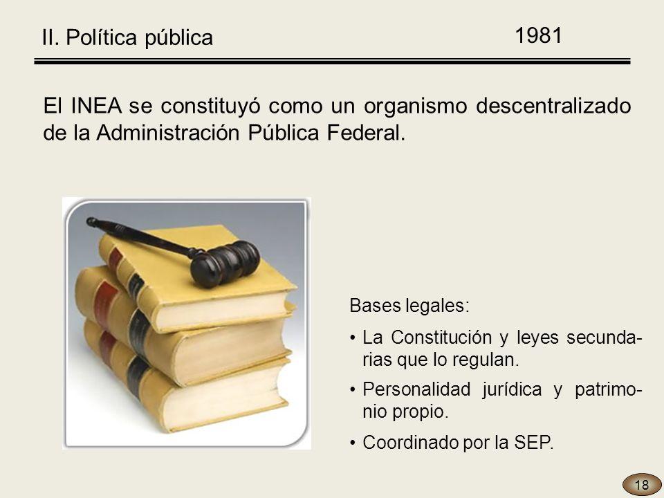 1981 18 El INEA se constituyó como un organismo descentralizado de la Administración Pública Federal.
