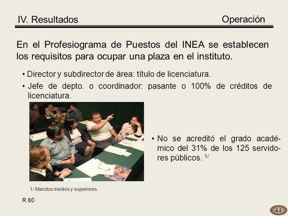 44 En el Profesiograma de Puestos del INEA se establecen los requisitos para ocupar una plaza en el instituto.