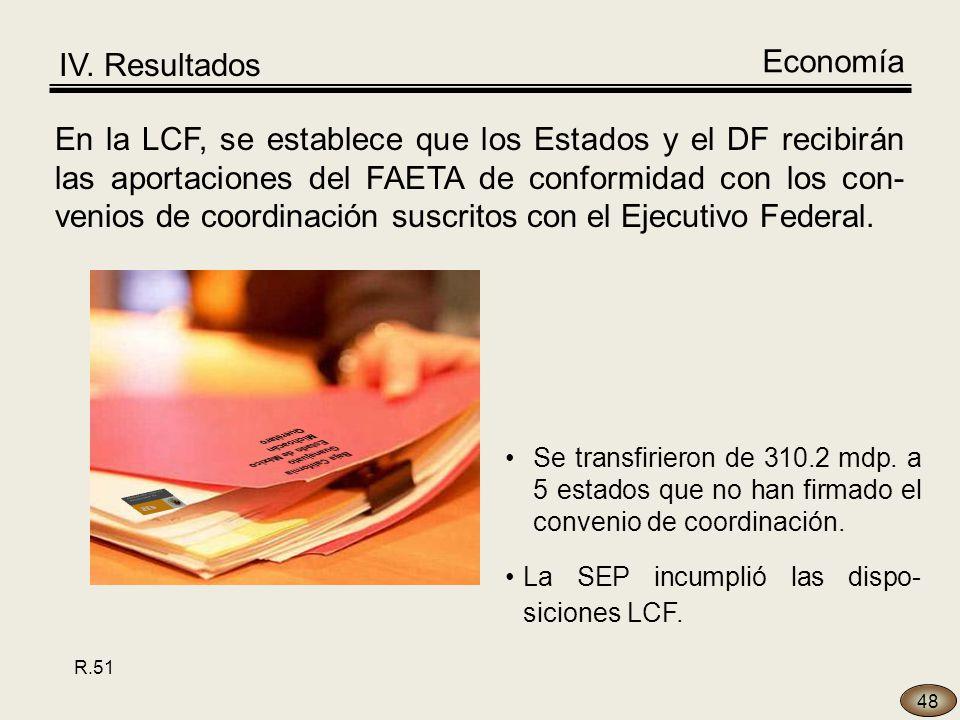 48 La SEP incumplió las dispo- siciones LCF. Se transfirieron de 310.2 mdp.