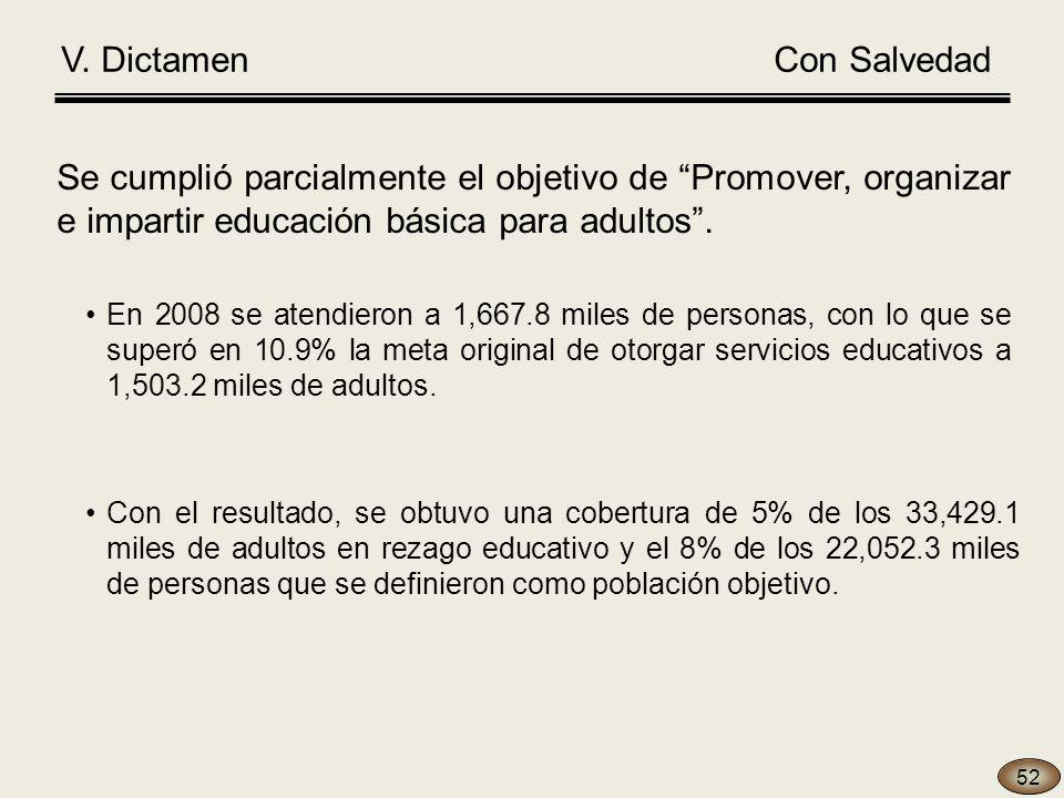 Se cumplió parcialmente el objetivo de Promover, organizar e impartir educación básica para adultos.