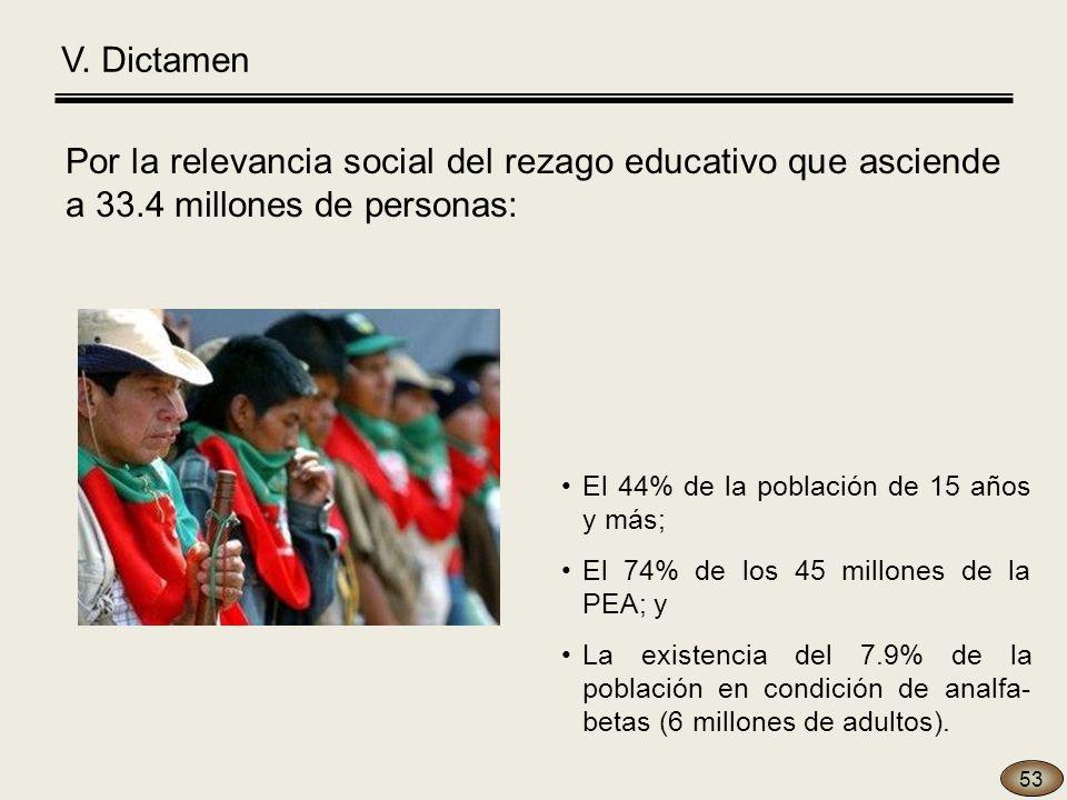 V. Dictamen Por la relevancia social del rezago educativo que asciende a 33.4 millones de personas: 53 El 44% de la población de 15 años y más; El 74%