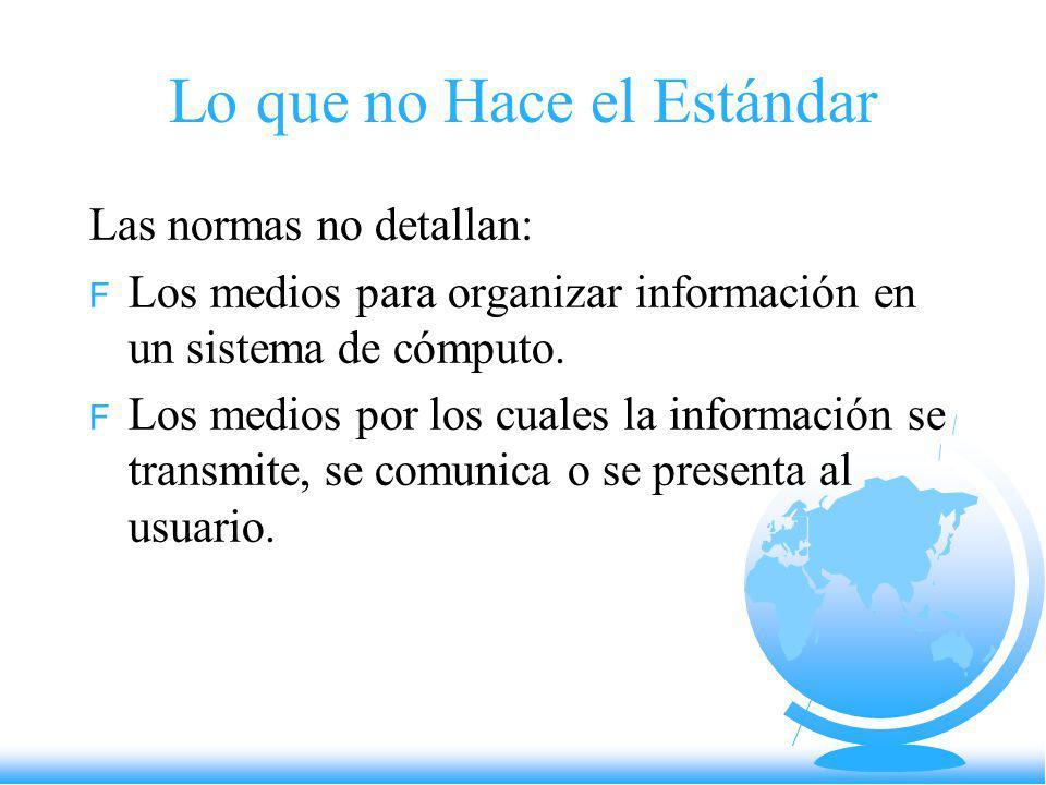 Lo que no Hace el Estándar Las normas no detallan: F Los medios para organizar información en un sistema de cómputo. F Los medios por los cuales la in