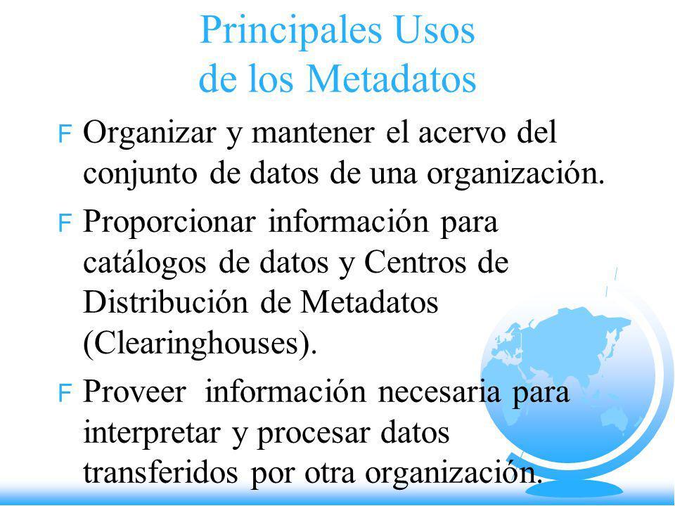 Principales Usos de los Metadatos F Organizar y mantener el acervo del conjunto de datos de una organización. F Proporcionar información para catálogo