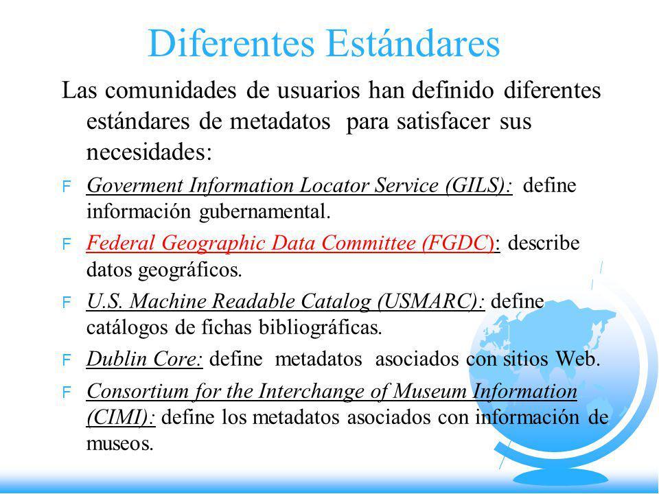 FGDC Federal Geographic Data Committee Estándar para Metadatos Geográficos Digitales Usado en el SIGA