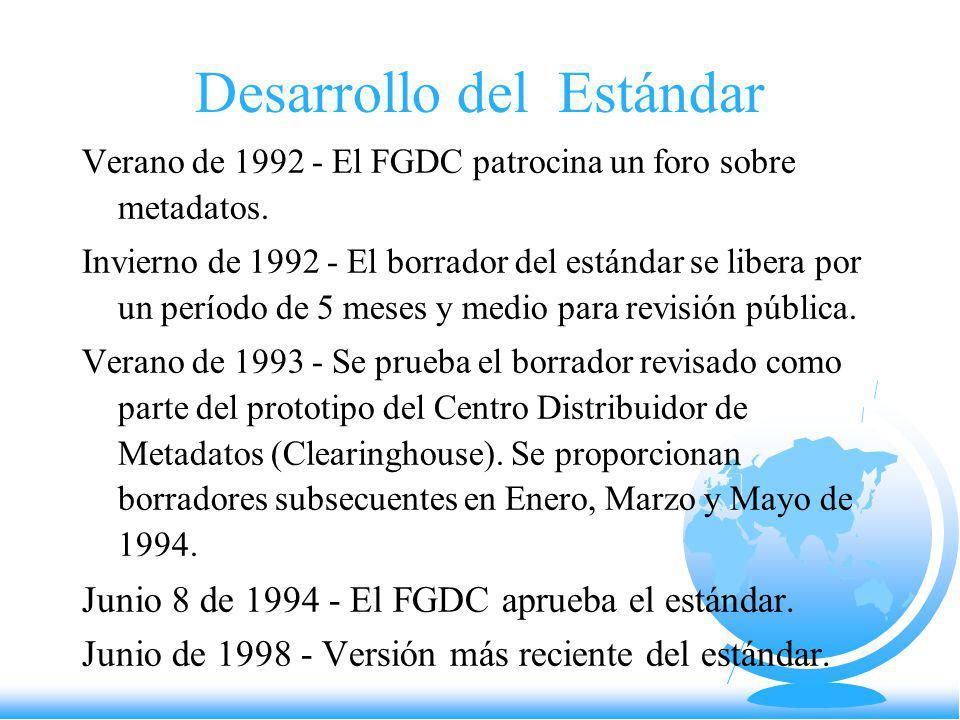 Desarrollo del Estándar Verano de 1992 - El FGDC patrocina un foro sobre metadatos. Invierno de 1992 - El borrador del estándar se libera por un perío