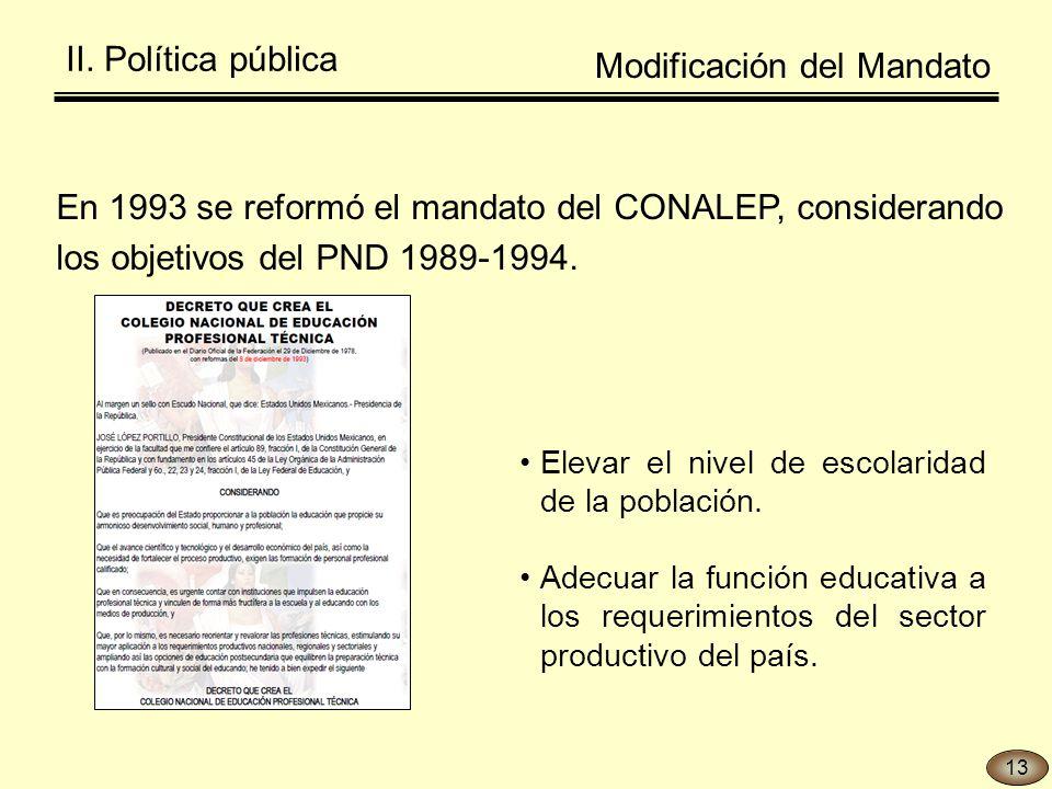 En 1993 se reformó el mandato del CONALEP, considerando los objetivos del PND 1989-1994.