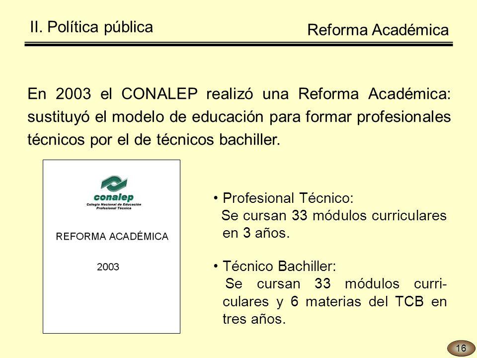 En 2003 el CONALEP realizó una Reforma Académica: sustituyó el modelo de educación para formar profesionales técnicos por el de técnicos bachiller.